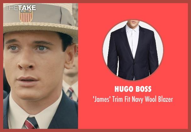 Hugo Boss blue blazer from Unbroken seen with Jack O'Connell (Louis Zamperini)