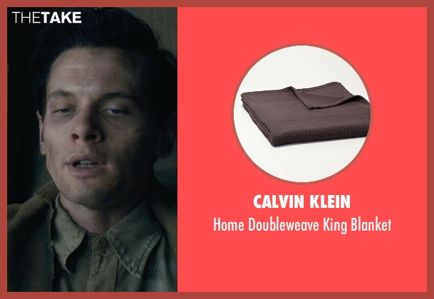 Calvin Klein brown blanket from Unbroken seen with Jack O'Connell (Louis Zamperini)