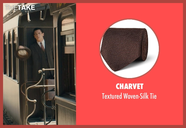 Charvet brown tie from Unbroken seen with Jack O'Connell (Louis Zamperini)
