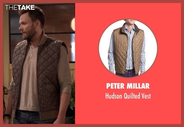 Peter Millar brown vest from The Great Indoors seen with Jack (Joel McHale)