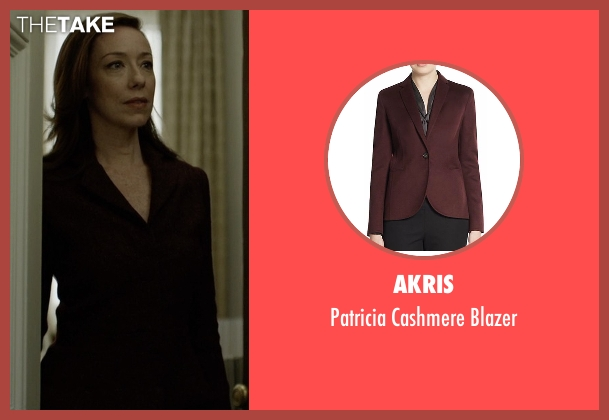 Akris  red blazer from House of Cards seen with Jackie Sharp (Molly Parker)