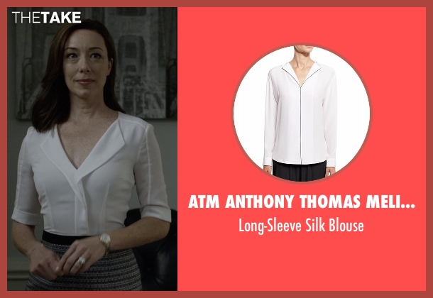ATM Anthony Thomas Melillo white blouse from House of Cards seen with Jackie Sharp (Molly Parker)