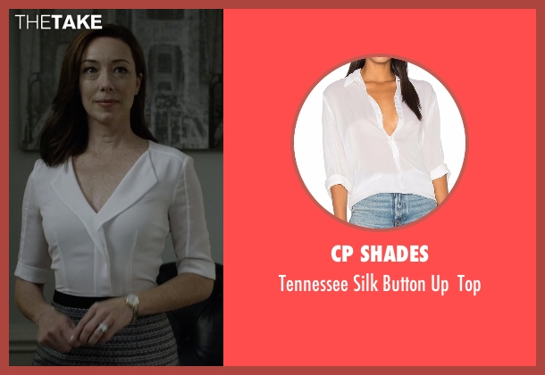 Cp Shades white top from House of Cards seen with Jackie Sharp (Molly Parker)