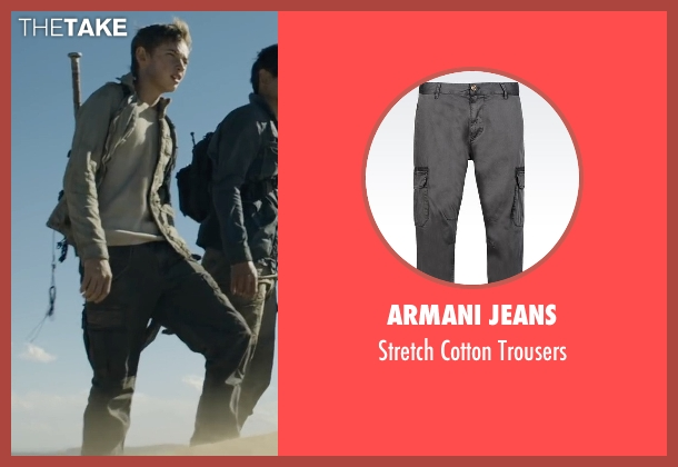 Armani Jeans gray trousers from Maze Runner: The Scorch Trials seen with Jacob Lofland (Aris Jones)