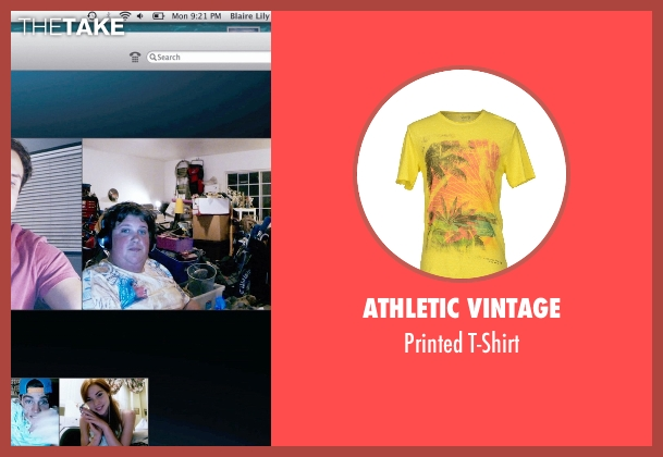 Athletic Vintage yellow t-shirt from Unfriended seen with Jacob Wysocki (Ken)