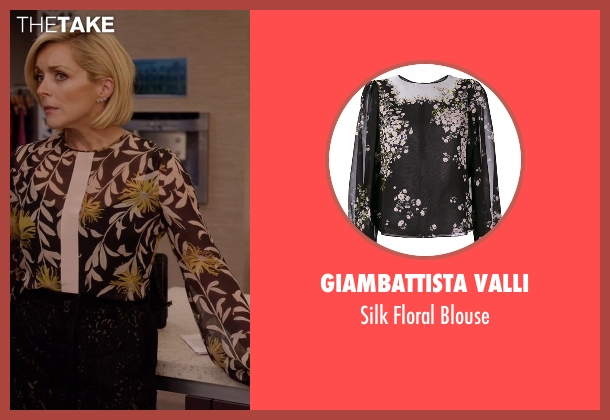 Giambattista Valli black blouse from Unbreakable Kimmy Schmidt seen with Jacqueline Voorhes (Jane Krakowski)