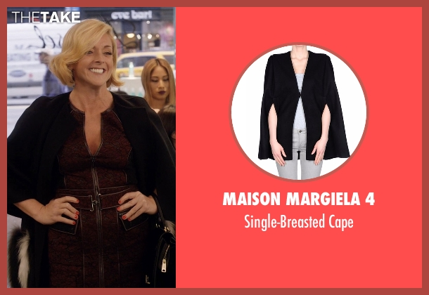 Maison Margiela 4 black cape from Unbreakable Kimmy Schmidt seen with Jacqueline Voorhes (Jane Krakowski)