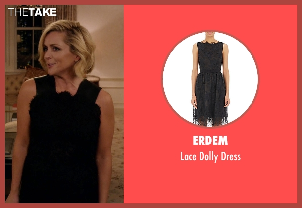 Erdem black dress from Unbreakable Kimmy Schmidt seen with Jacqueline Voorhes (Jane Krakowski)