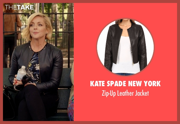 Kate Spade New York black jacket from Unbreakable Kimmy Schmidt seen with Jacqueline Voorhes (Jane Krakowski)