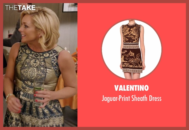 Valentino gold dress from Unbreakable Kimmy Schmidt seen with Jacqueline Voorhes (Jane Krakowski)