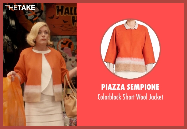Piazza Sempione orange jacket from Unbreakable Kimmy Schmidt seen with Jacqueline Voorhes (Jane Krakowski)