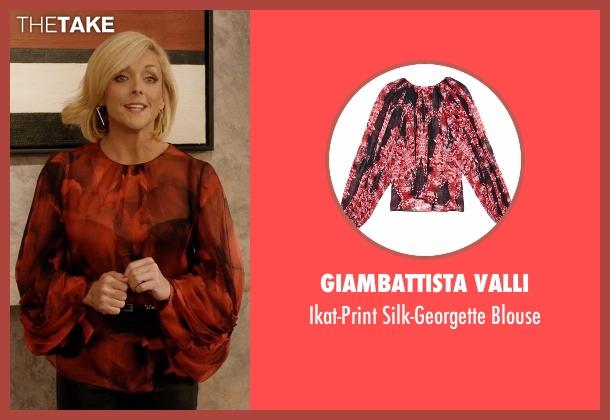Giambattista Valli red blouse from Unbreakable Kimmy Schmidt seen with Jacqueline Voorhes (Jane Krakowski)
