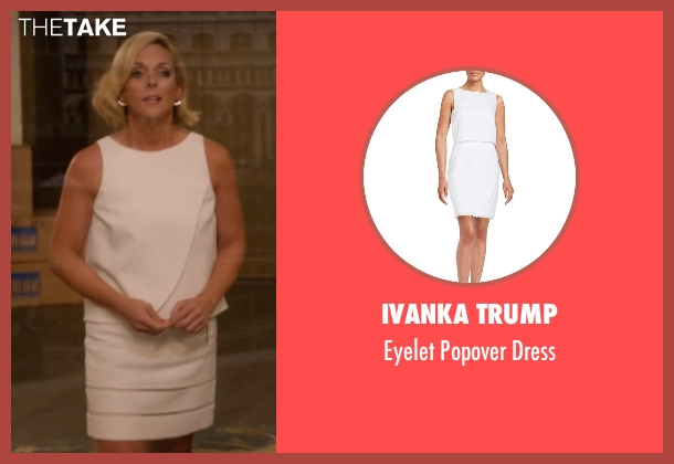 Ivanka Trump white dress from Unbreakable Kimmy Schmidt seen with Jacqueline Voorhes (Jane Krakowski)