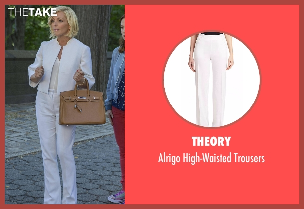 Theory white trousers from Unbreakable Kimmy Schmidt seen with Jacqueline Voorhes (Jane Krakowski)