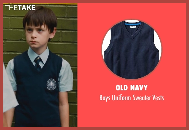 Old Navy blue vests from St. Vincent seen with Jaeden Lieberher (Oliver)