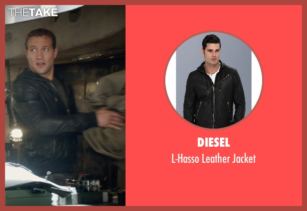 Diesel black jacket from Terminator: Genisys seen with Jai Courtney (Kyle Reese)