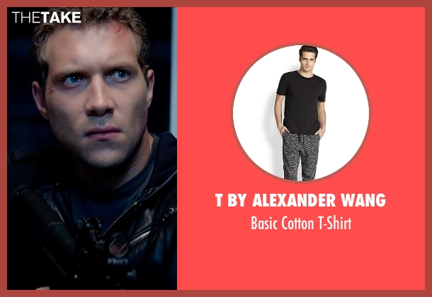 T by Alexander Wang black t-shirt from Terminator: Genisys seen with Jai Courtney (Kyle Reese)