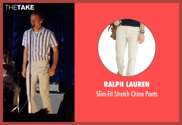 Ralph Lauren beige pants from Love & Mercy seen with Jake Abel (Mike Love)