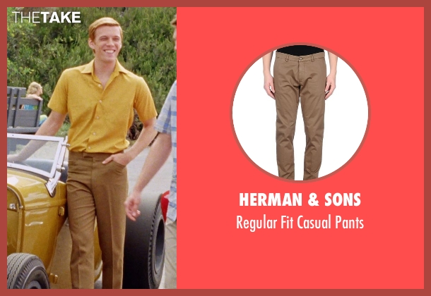 Herman & Sons brown pants from Love & Mercy seen with Jake Abel (Mike Love)
