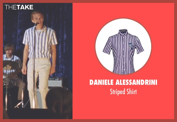 Daniele Alessandrini purple shirt from Love & Mercy seen with Jake Abel (Mike Love)