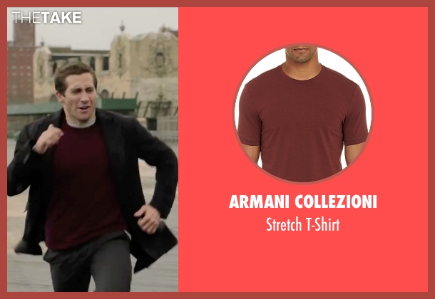 Armani Collezioni red t-shirt from Demolition seen with Jake Gyllenhaal (Davis Mitchell)