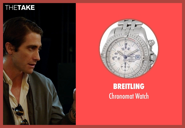 Breitling silver watch from Nightcrawler seen with Jake Gyllenhaal (Louis Bloom)