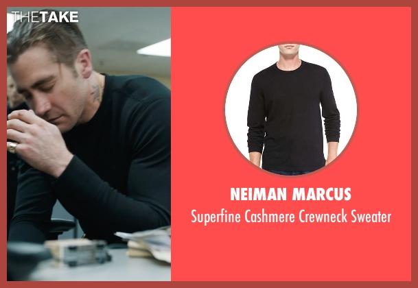 Neiman Marcus black sweater from Prisoners seen with Jake Gyllenhaal (Detective Loki)