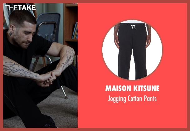 Maison Kitsune black pants from Southpaw seen with Jake Gyllenhaal (Billy Hope)