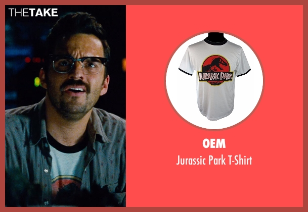 80sTees.com white t-shirt from Jurassic World seen with Jake Johnson (Lowery)