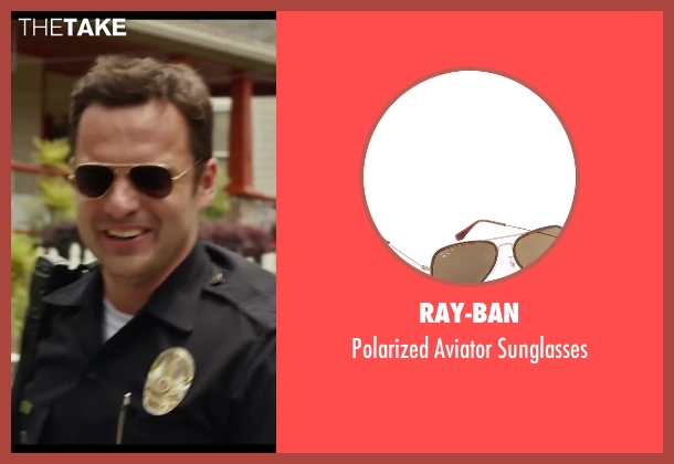 Ray-Ban black sunglasses from Let's Be Cops seen with Jake Johnson (Ryan Davis)