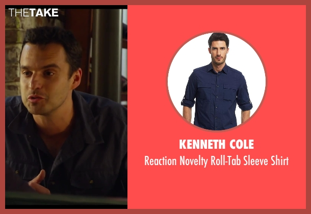 Kenneth Cole blue shirt from Let's Be Cops seen with Jake Johnson (Ryan Davis)