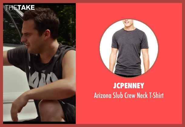 JCPenney gray t-shirt from Let's Be Cops seen with Jake Johnson (Ryan Davis)