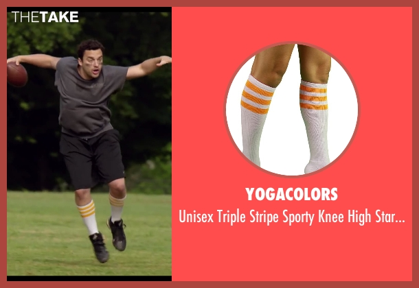 YogaColors white socks from Let's Be Cops seen with Jake Johnson (Ryan Davis)