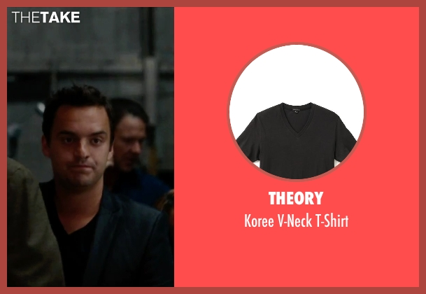 Theory black t-shirt from No Strings Attached seen with Jake Johnson (Eli)