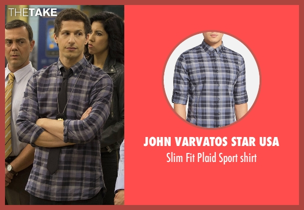 John Varvatos Star USA blue shirt from Brooklyn Nine-Nine seen with Jake Peralta (Andy Samberg)