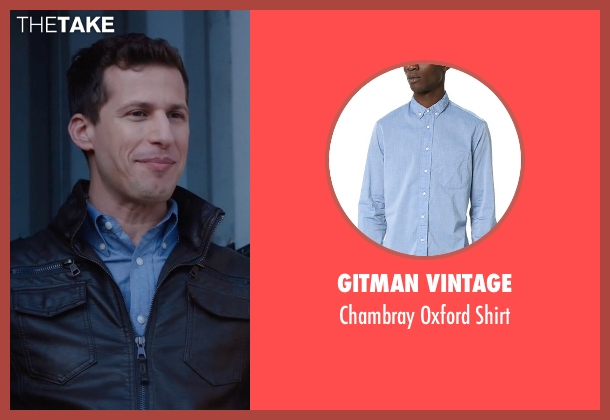 Gitman Vintage blue shirt from Brooklyn Nine-Nine seen with Jake Peralta (Andy Samberg)