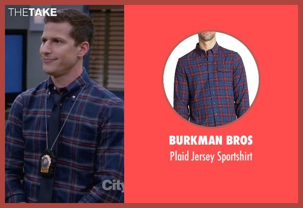 Burkman Bros blue sportshirt from Brooklyn Nine-Nine seen with Jake Peralta (Andy Samberg)