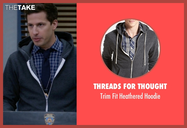 Threads for Thought gray hoodie from Brooklyn Nine-Nine seen with Jake Peralta (Andy Samberg)