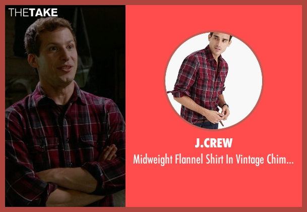 J.Crew red plaid from Brooklyn Nine-Nine seen with Jake Peralta (Andy Samberg)