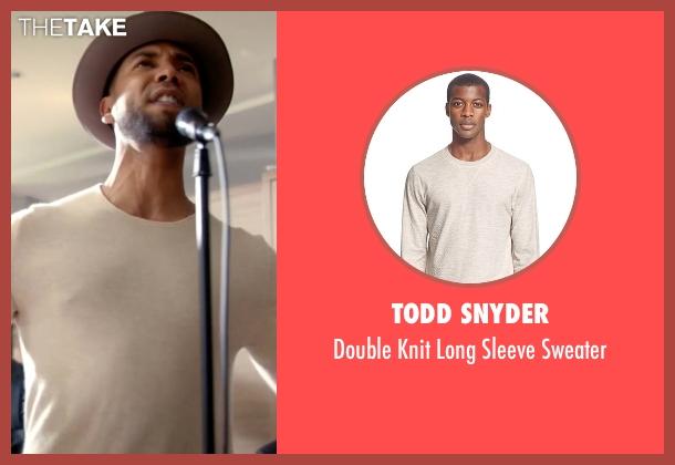 Todd Snyder beige sweater from Empire seen with Jamal Lyon (Jussie Smollett)