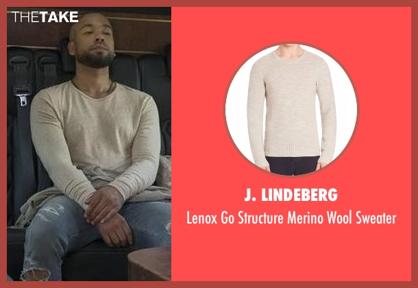 J. Lindeberg beige sweater from Empire seen with Jamal Lyon (Jussie Smollett)