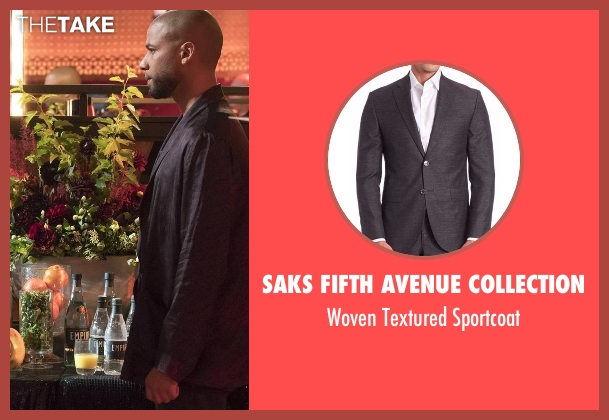 Saks Fifth Avenue Collection  black sportcoat from Empire seen with Jamal Lyon (Jussie Smollett)