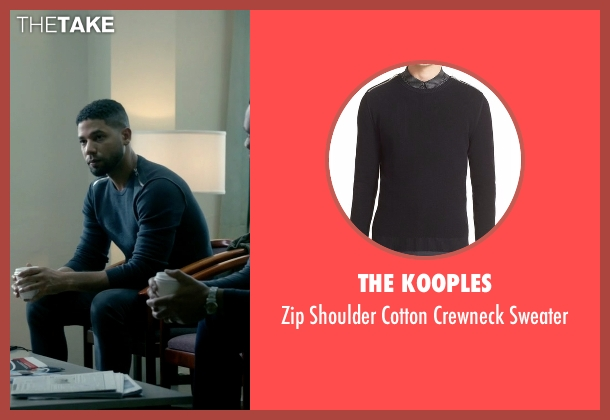 The Kooples black sweater from Empire seen with Jamal Lyon (Jussie Smollett)