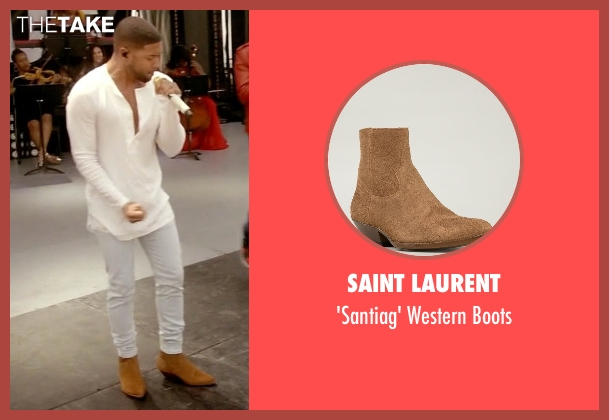 Saint Laurent brown boots from Empire seen with Jamal Lyon (Jussie Smollett)
