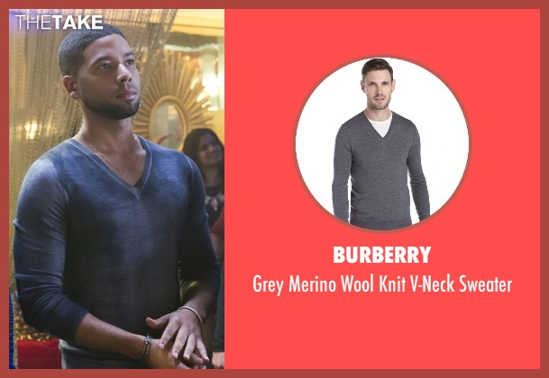 Burberry gray sweater from Empire seen with Jamal Lyon (Jussie Smollett)