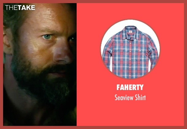 Faherty red shirt from 13 Hours: The Secret Soldiers of Benghazi seen with James Badge Dale (Rone)