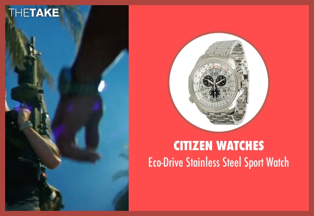 Citizen Watches silver watch from 13 Hours: The Secret Soldiers of Benghazi seen with James Badge Dale (Rone)