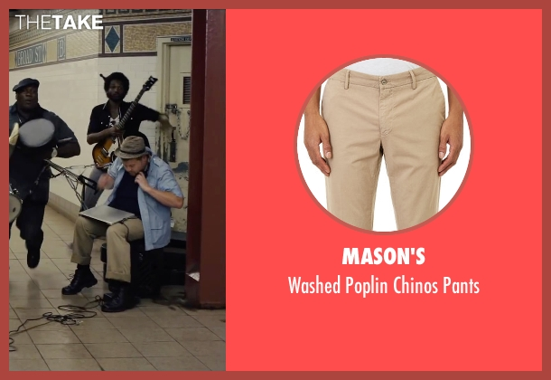 Mason's beige pants from Begin Again seen with James Corden (Steve)