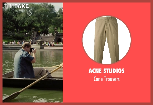 Acne Studios beige trousers from Begin Again seen with James Corden (Steve)