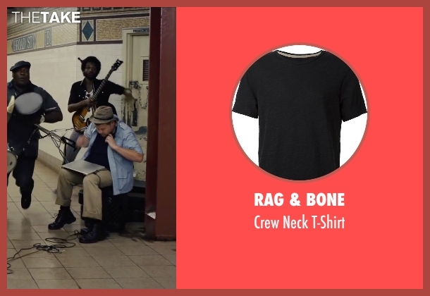 Rag & Bone black t-shirt from Begin Again seen with James Corden (Steve)